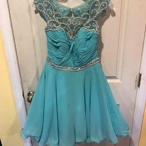 Size medium light turquoise blue cocktail dress